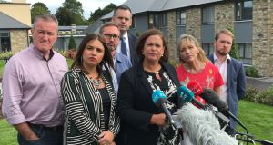 Sinn Féin leader Mary Lou McDonald speaking at a meeting of elected representatives in Co Cavan. Photograph: Press Association
