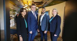 Anita Chandraker, PA Consulting; Alastair Hamilton, chief executive Invest NI; Jiten Kachhela, digital lead, PA Consulting and Karen Bradley, Secretary of State for Northern Ireland.