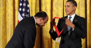 US President Barack Obama presents 2011 National Arts and Humanities Medal to philosopher, cultural theorist, and novelist Kwame Anthony Appiah in 2012. Photograph: Jewel  Samad/AFP/Getty Images