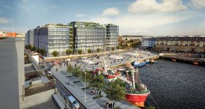 CGI of planned complex overlooking Galway docks