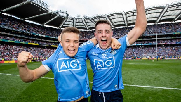 Dublin's Eoin Murchan and Brian Howard look like they've been playing for years. Photograph: Inpho