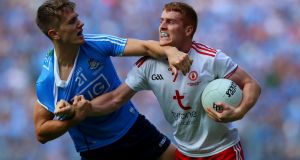 Michael Fitzsimons of Dublin and Peter Harte  of Tyrone in action on Sunday's All-Ireland final. Photograph: Tommy Dickson/Inpho
