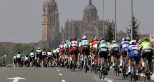 Riders in action during the 10th stage of La Vuelta 2018 cycling tour, over 177km between Salamanca and Fermoselle, Spain, on Tuesday. Manuel Bruque/EPA