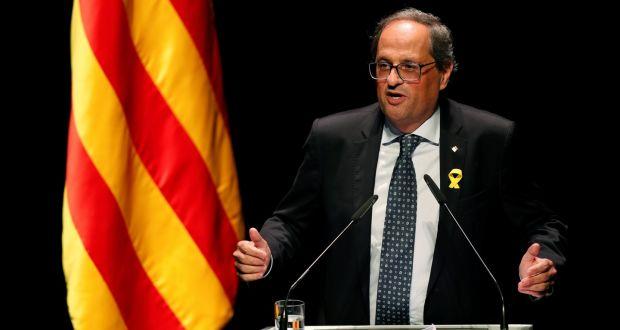 10fcebb00 Catalonian regional president Quim Torra at the National Theatre of  Catalonia in Barcelona