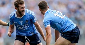 Dublin's Jack McCaffrey celebrates with Brian Howard as his side wins a free against Galway in the All-Ireland SFC semi-final at Croke Park in August.  Photograph: Tommy Dickson/Inpho