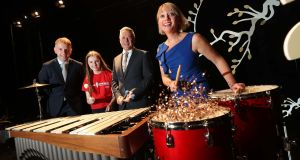 Andrew Hetherington, Business to Arts chief executive; Music Generation student Aibhlínn Doheny from Portlaoise; Sean McGrath, Allianz chief executive; and Rosaleen Molloy, Music Generation national director.