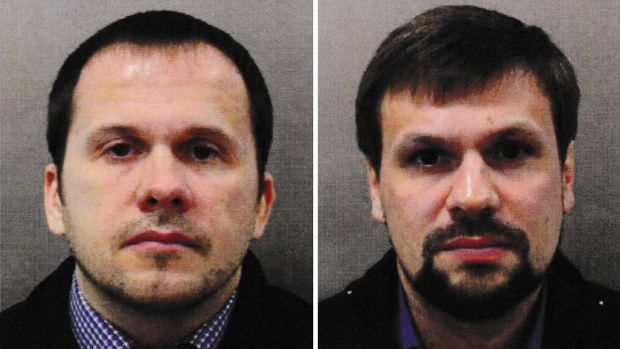 Alexander Petrov (left) and Ruslan Boshirov. Warrants for the extradition of the two Russian Nationals in connection with the novichok poisoning attack on Sergei Skripal and his daughter Yulia in March. Photograph: Metropolitan Police/PA Wire