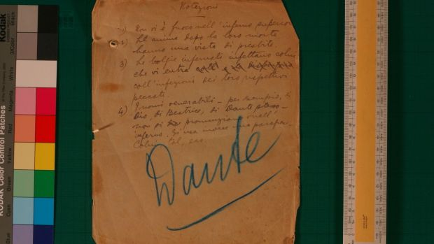 An image from Joyce's earliest writings in his characteristic hand - some notes on Dante, and his accounts and jottings kept in a school notebook in Paris.