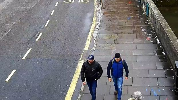 Ruslan Boshirov and Alexander Petrov on Fisherton Road, Salisbury at 1.05pm on March 4th 2018. The CPS has issued European Arrest Warrants for the extradition of them.