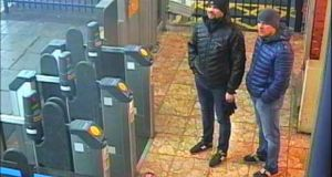 Alexander Petrov and Ruslan Boshirov are seen on CCTV at Salisbury Station on March 3rd, 2018 in an image handed out by the Metropolitan Police in London