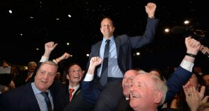 Leo Varadkar is hoisted on shoulders after being elected as leader of Fine Gael at the Mansion House, Dublin. File photograph: Alan Betson/The Irish Times
