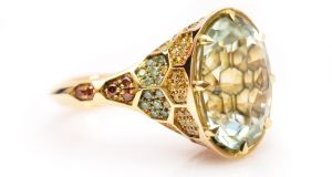 Plato's Beryl Signature Ring, in 18ct yellow gold, with green beryl and coloured diamonds