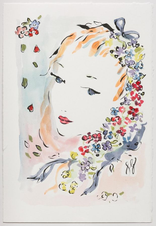 'Flowers in her Hair' by Susannah Garrod, from the Fashion Illustration Gallery London. See fashionilllustrationgallery.com