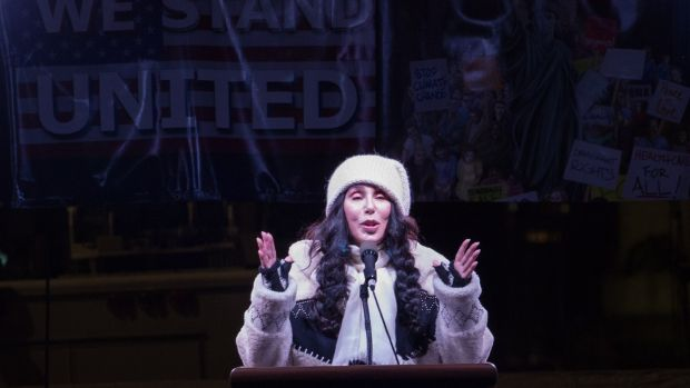 Cher: the performer speaks at the We Stand United rally on the eve of Donald Trump's inauguration as US president, in 2017. Photograph: Bryan R Smith/AFP/Getty