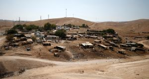 Palestinian Bedouin encampment of Khan al-Ahmar in the occupied West Bank: the villagers rejected Israeli proposals to relocate to two other West Bank locations, one close to a rubbish dump. Photograph: Mohamad Torokman/Reuters