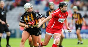 Cork's Gemma O'Connor with Julie Ann Malone of Kilkenny in last year's All Ireland Senior Camogie Championship final at Croke Park.  Photograph: Gary Carr/Inpho