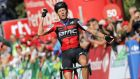 Italian Alessandro De Marchi of BMC team celebrates winning the 11th stage of La Vuelta tour over 207km from Mombuey to Luintra, Spain. Photograph: epa