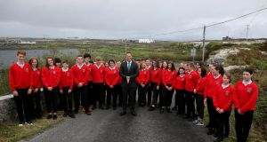 An Taoiseach Leo Varadkar with pupils of Coláiste Naomh Eoin on Inis Meáin, Aran Islands, during a visit to mark the schools establishment as a single entity school. Photograph:  Brian Lawless/PA Wire