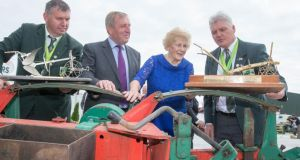 World Conventional Ploughing champion Eamonn Tracey, Carlow (right) and World Silver Medalist in Reversible John Whelan, Wexford (left) with Minister for Agriculture Michael Creed and NPA Managing Director Anna May McHugh at Screggan Tullamore for the launch of the 2018 National Ploughing Championships. Photograph: Alf Harvey