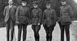 Maj-Gen Emmet Dalton, centre, with Col Dunphy,   Michael Collins Comdt-Gen P MacMahon and Comdt-Gen D O'Hegarty. Dalton served with Photograph: Finnerty/Hulton Archive/Getty Images
