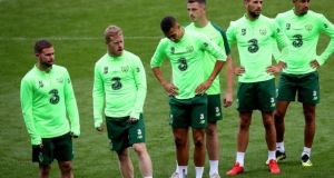 The Republic of Ireland team during a training session at the Cardiff City Stadium. Photograph: Inpho