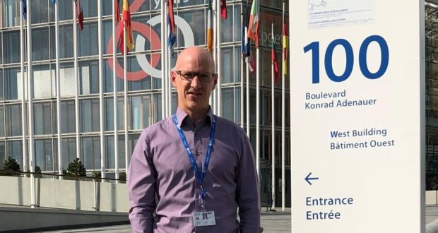 """Stephen Knowles outside the European Investment Bank in Luxembourg: """"Any weekend I can be in Germany, Belgium or France in less than 30 minutes."""""""