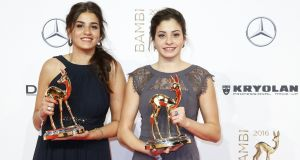 Award winners Yusra Mardini and Sarah Mardini during the Bambi Awards at Stage Theater in Berlin, Germany in 2016. File photograph: Isa Foltin/Getty Images for Kryolan