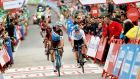 France's Alexandre Geniez (L) wins the 12th stage of Vuelta a España. Photograph: Inpho