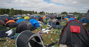 Abandoned tents and rubbish litter a campsite after Electric Picnic. Photograph: Dave Meehan/The Irish Times