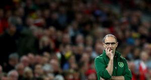 Ireland's manager Martin O'Neill at Cardiff City Stadium in Wales. Photograph:  James Crombie/Inpho
