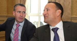 Minister of State at the Department of Housing, Planning and Local Government Damien English and Taoiseach Leo Varadkar, during the Fine Gael think-in  in Galway. Photograph: Joe O'Shaughnessy