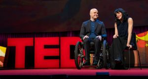 Irish couple Mark Pollock and Simone George speaking at Ted 2018 in Vancouver. Photograph: Ryan Lash/TED