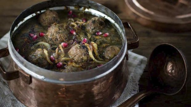 Pomegranate soup with meatballs: the fried mint topping gives this soup a wonderful flavour.