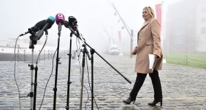 Where am I?: Karen Bradley on her first visit to Northern Ireland as secretary of state, in January. Photograph: Charles McQuillan/Getty