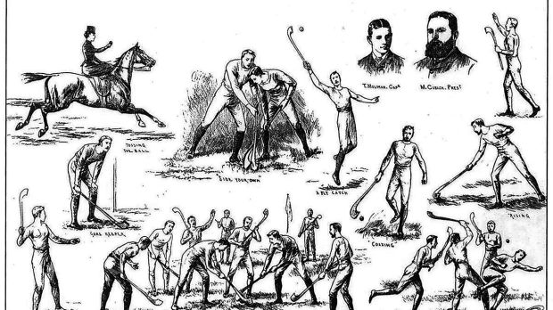 An illustration from a March 1884 issue of the London-based Illustrated Sporting and Dramatic News, depicting hurling skills and match situations. The artist was probably observing the Metropolitan Hurling Club, founded in Dublin in 1883.