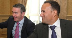Fine Gael think-in: Minister of State for Housing Damien English and Leo Varadkar on Friday. Photograph: Joe O'Shaughnessy