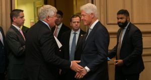 Businessman Denis O'Brien and former US president  Bill Clinton at the  Concern Worldwide 50 conference in Dublin on Friday.  Photograph: Gareth Chaney/Collins.