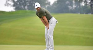 Rory McIlroy reacts to a missed putt on the eighth green during the second round of the BMW Championship at Aronimink Golf Club in Newtown Square, Pennsylvania. Photo: Drew Hallowell/Getty Images