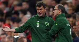 Republic of  Ireland assistant manager  Roy Keane and manager Martin O'Neill react to events on the pitch  during the humiliating Nations League defeat to Wales at  Cardiff City Stadium, Cardiff. Photograph: Getty Images