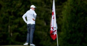 Matthew Fitzpatrick looks on on the 15th hole during day three of the Omega European Masters at Crans-sur-Sierre Golf Club. Photo: Stuart Franklin/Getty Images