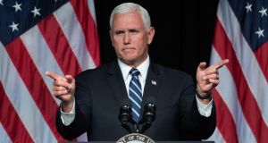 US vice-president Mike Pence speaks about the creation of a new branch of the military, Space Force, at the Pentagon. Photograph: Saul Loeb/Getty Images