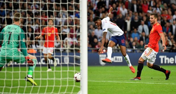 England's Marcus Rashford has a shot at goal during their Nations League meeting with Spain at Wembley. Photo: Toby Melville/Reuters
