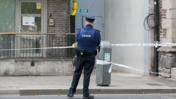 Gardaí at the scene of the assault on Sunday. Photograph: Gareth Chane/Collins