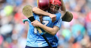 Dublin's Laoise Quinn and Emer Keenan celebrate after beating Kerry in the Camogie Championship Final at Croke Park. Photograph: Bryan Keane/Inpho