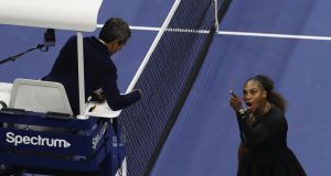 Serena Williams   argues with umpire Carlos Ramos in the US Open women's singles final against Naomi Osaka. Photograph:   Jaime Lawson/Getty Images