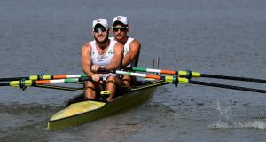 Ireland's Gary O'Donovan and Paul O'Donovan finish first in the men's lightweight double sculls heat 5  at the  World  Championships in  Plovdiv, Bulgaria. Photograph:  Detlev Seyb/Inpho