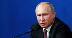 Russia's president Vladimir Putin: his approval ratings have slumped to a four-year low. Photograph: AP Photo/Ebrahim Noroozi