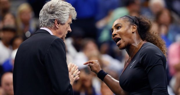 Serena Williams Deep In Conversation With Referee Brian Earley During The Womens Final Of The Us