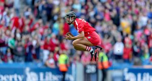 Liberty Insurance All-Ireland Senior Camogie Championship: Cork's Laura Treacy celebrates at the final whistle. Photograph:  ©INPHO/Laszlo Geczo