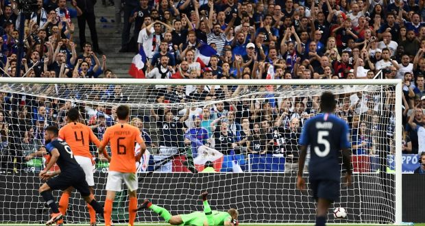491d7da232e France's Olivier Giroud scores during their Nations League win over  Netherlands in Paris. Photo by